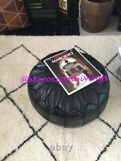 100% Leather Handcrafted Moroccan Pouffe Black with Black embroidery
