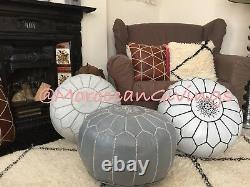 100% Leather Handcrafted Moroccan Pouffe light Grey With Black