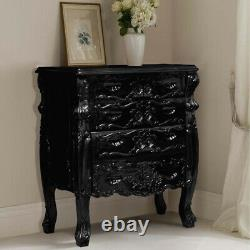 100cm Gothic BLACK Handcrafted Mahogany French style Chest of 5 Drawers