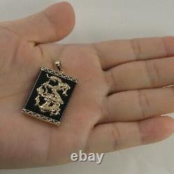 14k Solid Yellow Gold Hand Crafted Dragon Black Onyx Pendant TPJ
