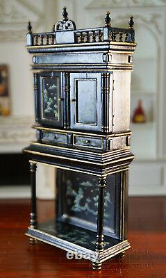 1/12 Miniature Lacquer Cabinet Hand Painted Decor Black Gold Royal Luxury Style
