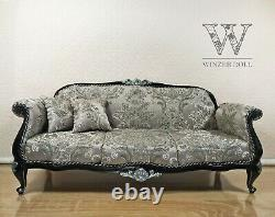 1/4 3-seater sofa for dolls 16 inch, classic baroque black couch, for BJD