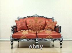 1/4 Classic sofa Louis XVI style for dolls 16 inch, black couch, BJD furniture