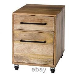 21 T Mobile Pedestal Filing Cabinet Solid Hand Crafted Mango Wood Iron Accents