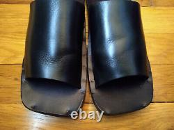 $300+ black leather flat sandals hand crafted for Barneys New York-7B