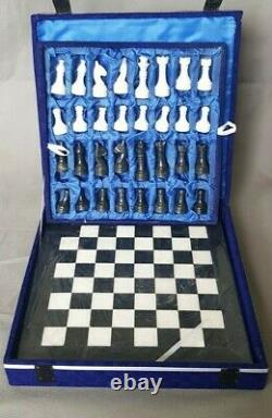 30 cm x 30 cm, BRAND NEW HANDCRAFTED MARBLE/ONYX CHESSBOARD SET BLACK & WHITE