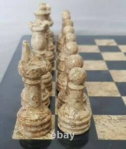 30 cm x 30 cm, BRAND NEW HANDCRAFTED MARBLE/ONYX CHESSBOARD SET CORAL & BLACK