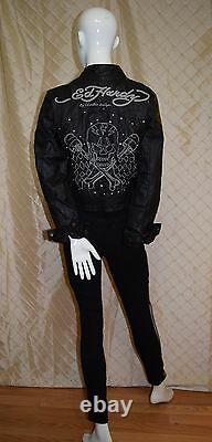 $385 Women's Ed Hardy by Christian Audigier Hand Crafted Genuine Leather Jacket