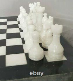 40 cm x 40 cm, BRAND NEW HANDCRAFTED MARBLE/ONYX CHESSBOARD SET BLACK & WHITE