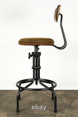 44 H Counter stool bar chair black iron finish leather seat hand crafted unique