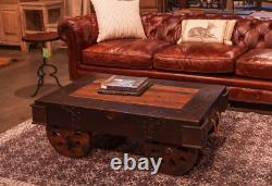 48 L Vintage Coffee Table Hand Crafted Hardwood Iron Accents Exposed Tacks