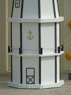 6 Foot Octagon Electric and Solar Powered Poly Wood Lighthouse, White & black