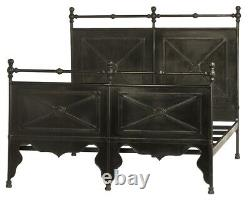 84 Stefania Bed King Hand Crafted Steel Pipe Frame Heavy Gauge Panels