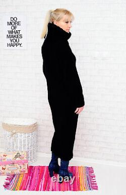 ANGORA Hand Knitted Dress Robe Black Sweater Mohair Wool Handcrafted NEW SALE