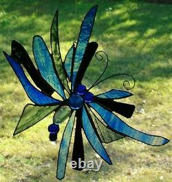 AUSTRALIAN MAGPIE PAIR Authentic HAND CRAFTED Stained Glass Leadlight SUNCATCHER