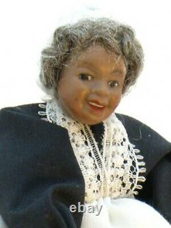 African American Porcelain Woman Doll Black Dress with Apron Dollhouse Miniature