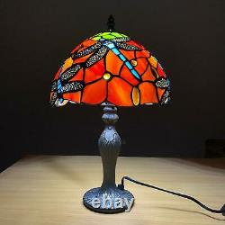 Antique Style Tiffany Dragonfly Design Table Desk Lamp Hand Crafted Glass shade