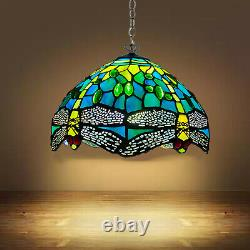 Antique Tiffany Style Dragonfly Pendant Lamp shades Hand Crafted Stained Glass