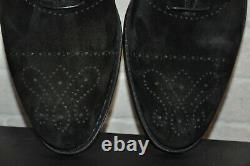 Authentic New Handcrafted Bontoni Black Suede Leather Oxfords Shoes, EU44/US11