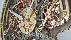 Automaton Bite 1682 Black Gold Wooden Wall Clock Handcrafted Steampunk Gears