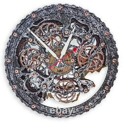 Automaton Bite 1682 Metal Jacket Moving gears Wall Clock Handcrafted Steampunk