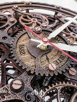 Automaton Bite 1682 Vintage Copper Moving gears Wall Clock Handcrafted Steampunk
