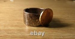BLACK BEAUTY HAMMERED SILVER RING. 925 SILVER VIKING Ring SIZE 13, 15mm & 18.2g