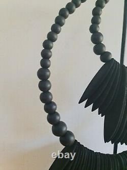 Bali art cuttlefish shape wood tribal double necklace on stand Large black