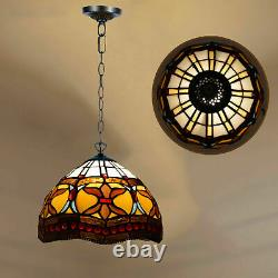 Beautiful Tiffany Style Pendant Lamp 10 Shade Handcrafted Lamp Stained Glass UK