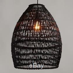 Black Bamboo Woven Pendant Lamp Shade Hanging Teardrop Natural & Handcrafted