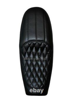 Black Faux Leather Dual Seat For Royal Enfield Interceptor 650cc Continental GT