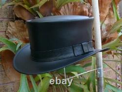 Black Leather Hand Crafted Traditional Coachman / Riverboat Gambler Mens Hat