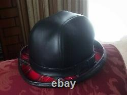 Black Leather Hand Crafted Traditional English Bowler Hat With Tartan Lining