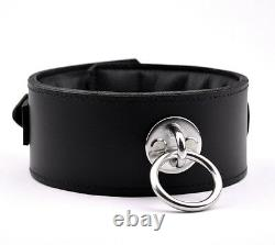 Black Premium Padded Heavy Duty Leather Collar Handcrafted Stunning Col28Blk