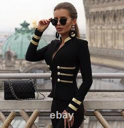 Black gold military officer bandage bodycon jacket blazer various colors