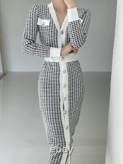 Black white houndstooth knit long sleeve button bodycon jumper sweater dress