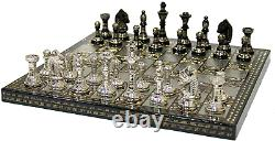 Brass Chess Board Game Set with Pieces Handmade 12x12 Handcrafted Black Silver