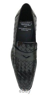 Calzoleria Toscana Men's Black Woven Leather Hand Crafted Slip On Shoes z992
