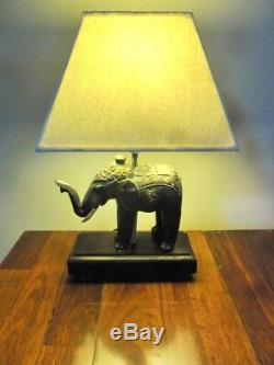 Carved Elephant Table/Feature Lamp hand crafted (black/gold tones) one only
