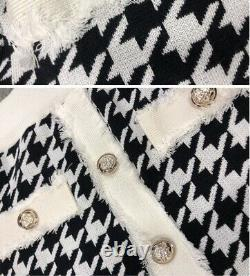 Chic gold button tweed houndstooth black white bodycon skirt jacket suit set