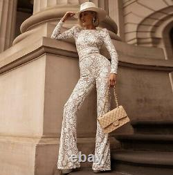 Chic lux sexy sequin lace bodycon jumpsuit catsuit bodysuit white red black 1 pc
