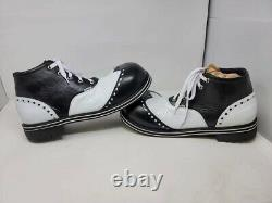 Clown Shoes Handcrafted Genuine Leather Adult Black And White Hightops