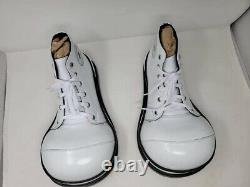 Clown Shoes Handcrafted Genuine Leather Adult White And Black Hightops