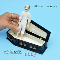 Coffin Black color wood top Dollhouse miniature 112 funeral Halloween