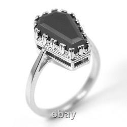 Coffin Ring 7.70CT Black Spinel Set to Solid Silver Hand Crafted in The UK