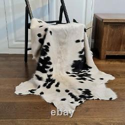 Cow hide, hand crafted soft hair-on Animal skin, leather rug Black & White