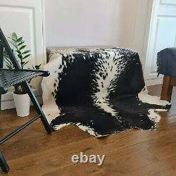 Cow hide, hand crafted soft hair-on Animal skin leather rug Black & White