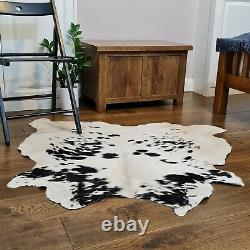 Cow hide, hand crafted soft hair-on Animal skin real leather rug Black & White