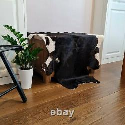 Cowhide, hand crafted soft hair-on Animal skin real leather rug Black & White