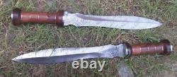 Custom Hand Crafted Knife king's PAIR of Damascus Steel GLADIATOR SWORD